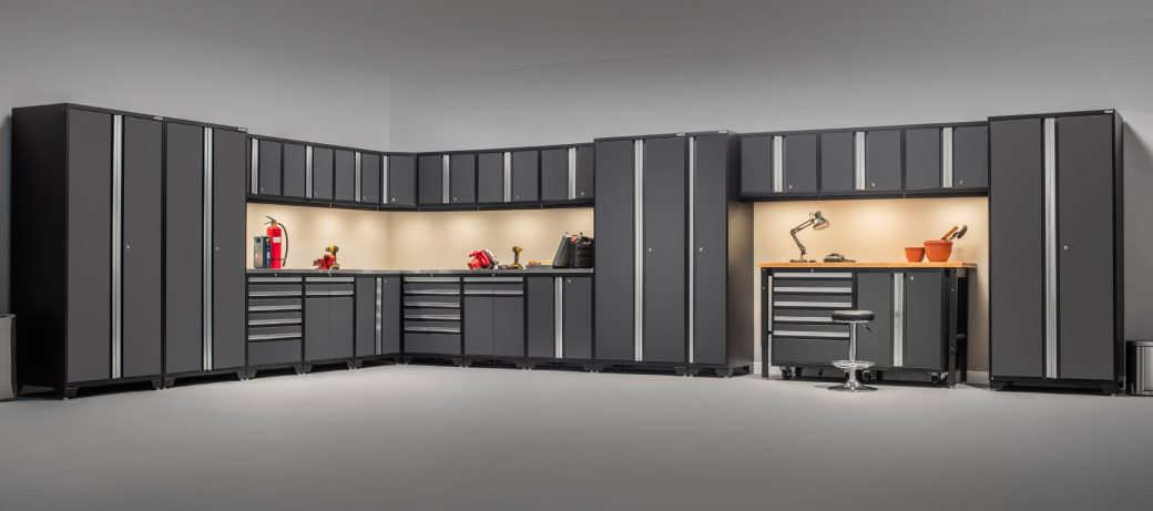 Update pro series garage cabinets from new age products for Premier garage cabinets