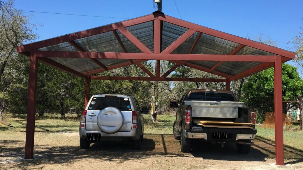 A metal carport build garagespot for How to build a metal house