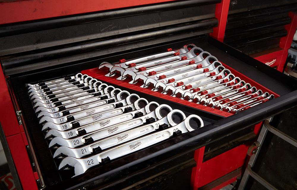 Combination wrenches in toolbox