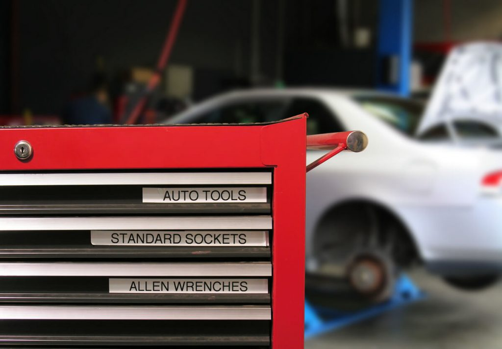 Red auto mechanic tool chest