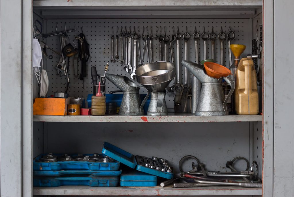 Garage cabinet with tools
