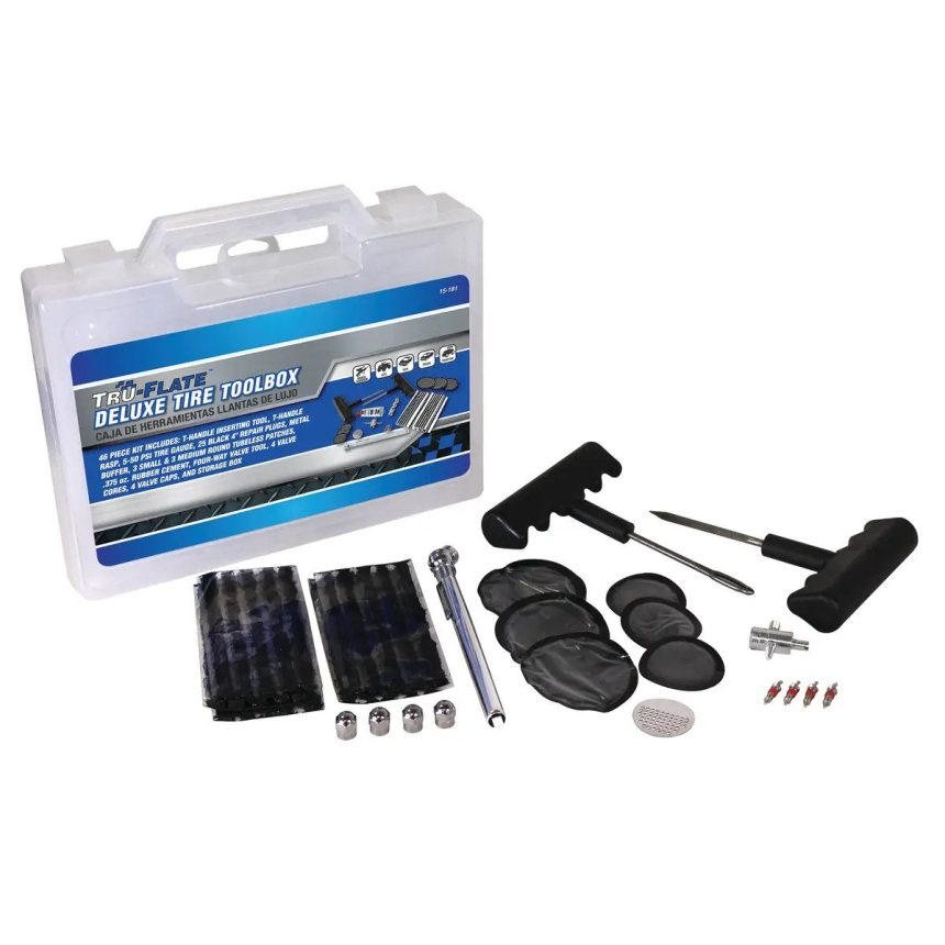 TRU-FLATE 15-181 Deluxe Patch and Plug Tire Repair Kit