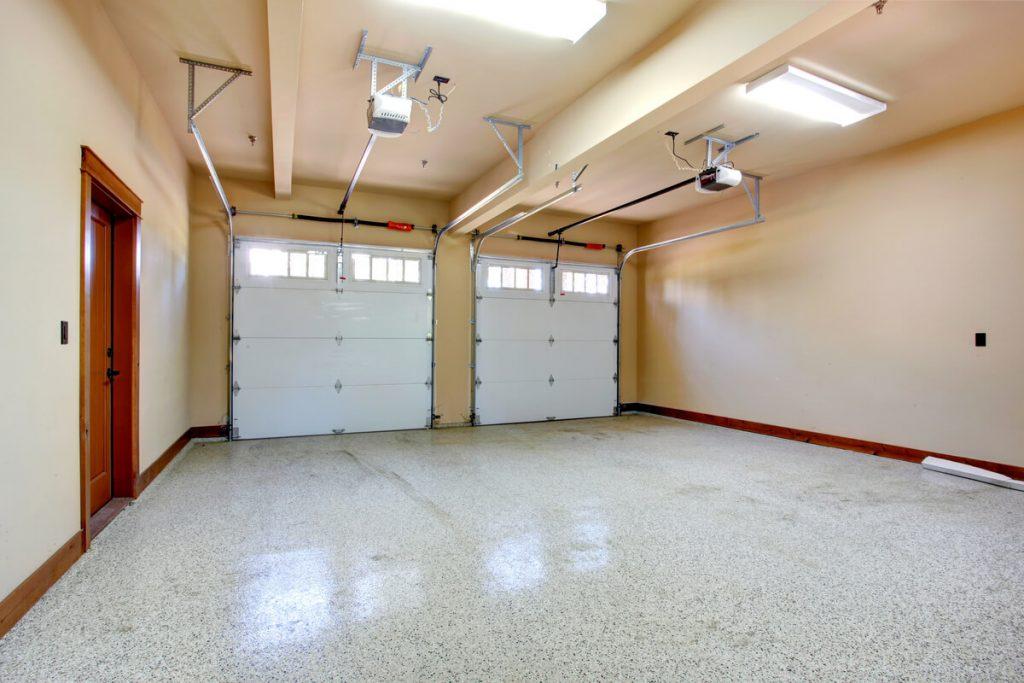 Well-lit garage