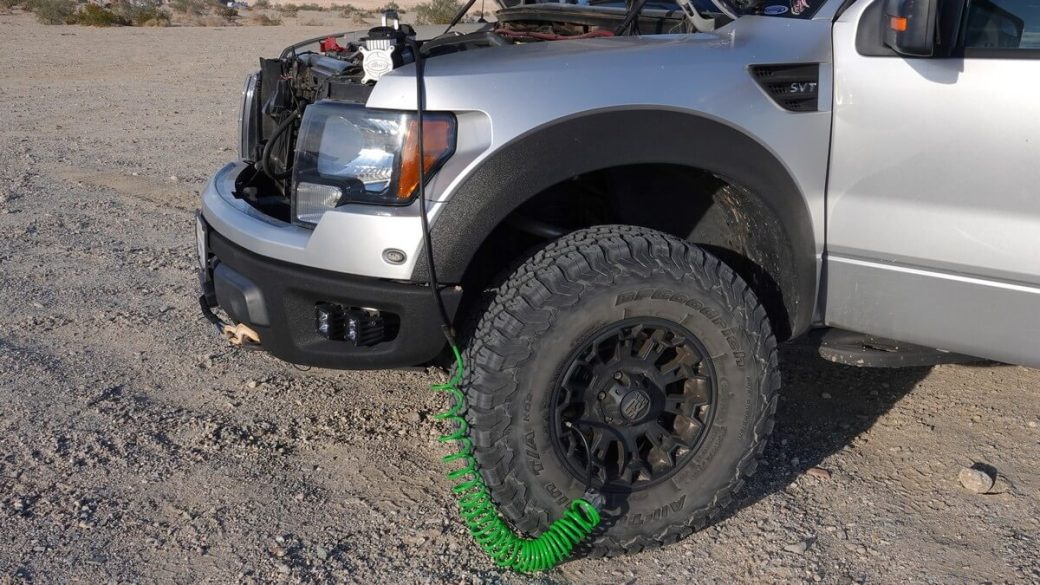 Tire inflator used on off-road pickup